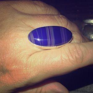 Indigo Blue Striped Agate Sterling Ring